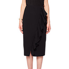 Buy Ted Baker Oden Ruffle Detail Pencil Skirt, Black Online at johnlewis.com