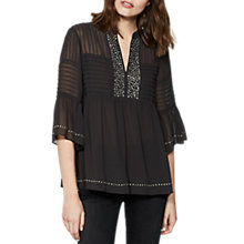 Buy Mint Velvet Stud Placket Blouse, Dark Grey Online at johnlewis.com