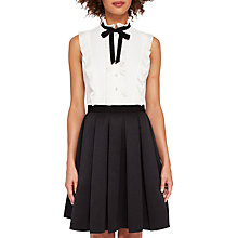 Buy Ted Baker Kimika Pleated Tie Neck Dress, Black/White Online at johnlewis.com
