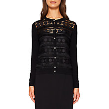 Buy Ted Baker Black Circle Lace Panel Cardigan, Black Online at johnlewis.com