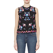 Buy French Connection Edith Floral Sleeveless Top, Black/Multi Online at johnlewis.com
