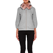Buy Ted Baker Robley Faux Fur Collar Bomber Jacket, Light Grey Online at johnlewis.com