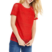 Buy Oasis Marias Lace T-Shirt, Mid Red Online at johnlewis.com