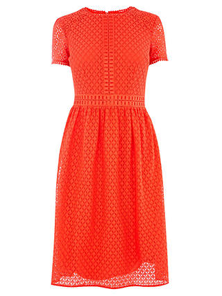 Buy Oasis Day Skater Dress, Mid Red, XS Online at johnlewis.com