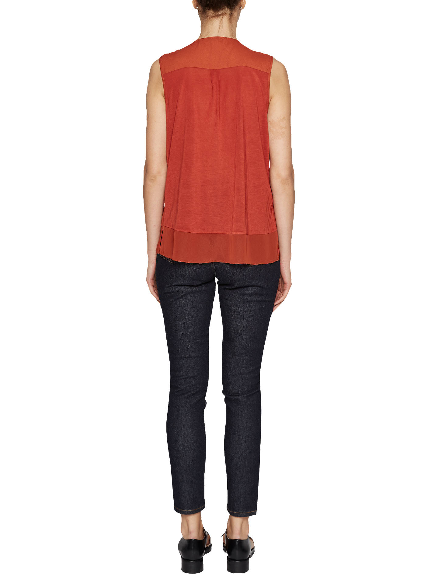 BuyFrench Connection Classic Crepe V Neck Top, Copper Coin, XS Online at johnlewis.com
