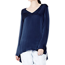 Buy Ghost Ash Satin Tunic Top, Marine Blue Online at johnlewis.com
