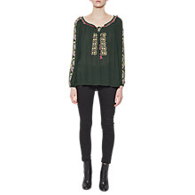 Buy French Connection Elena Stitch Long Sleeve Smock Top, Ink Green/Multi Online at johnlewis.com