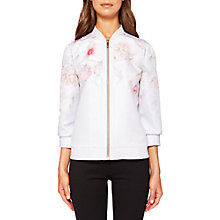Buy Ted Baker Dawnar Chelsea Print Bomber Jacket, Light Grey Online at johnlewis.com