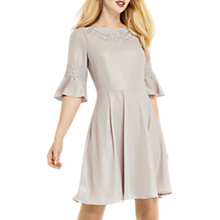Buy Oasis Lace Trim Shimmer Skater Dress, Mid Grey Online at johnlewis.com