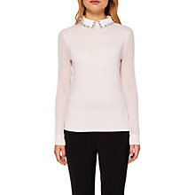 Buy Ted Baker Braydey Embellished Collar Jumper, Pink Online at johnlewis.com