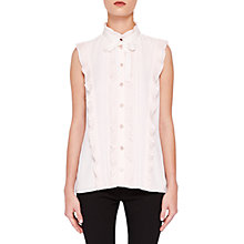 Buy Ted Baker Serata Ruffle Tie Neck Blouse, Pink Online at johnlewis.com