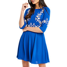 Buy Oasis Osaka Embroidered Skater Dress, Cobalt Blue Online at johnlewis.com
