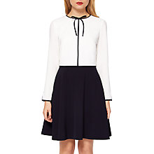 Buy Ted Baker Loozy Tie Neck Skater Dress, White Online at johnlewis.com
