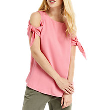 Buy Oasis Tie Sleeve Top, Mid Pink Online at johnlewis.com