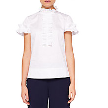 Buy Ted Baker Saidii Frill Detail Cotton Blouse, White Online at johnlewis.com