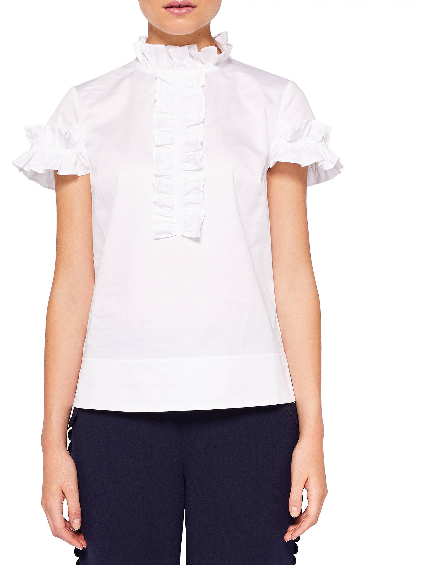 1ad00c778afb6a Buy Ted Baker Saidii Frill Detail Cotton Blouse, White, 0 Online at  johnlewis.