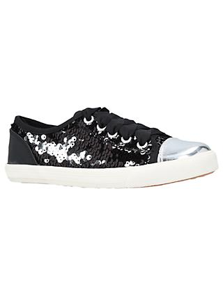 Kurt Geiger London Children's Mini Lucca Trainers, Black Glitter