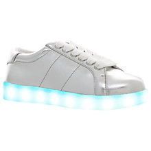 Buy Mini Miss KG Children's Lightning Trainers, Silver Online at johnlewis.com