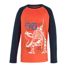 Buy Fat Face Boys' Long Sleeve T-Rex Dinosaur Raglan T-Shirt, Orange Online at johnlewis.com