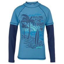 Buy Fat Face Resort Boys' 'Ruling The Waves' Rash Vest, Blue Online at johnlewis.com