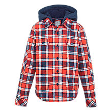 Buy Fat Face Boys' Warmwell Check Shacket, Red Online at johnlewis.com
