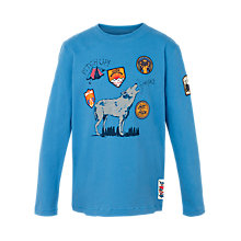 Buy Fat Face Boys' Long Sleeve Wolf T-Shirt, Blue Online at johnlewis.com