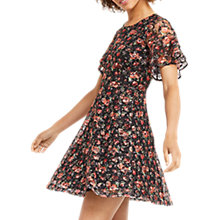 Buy Oasis Double Layer Rose Dress, Black Online at johnlewis.com