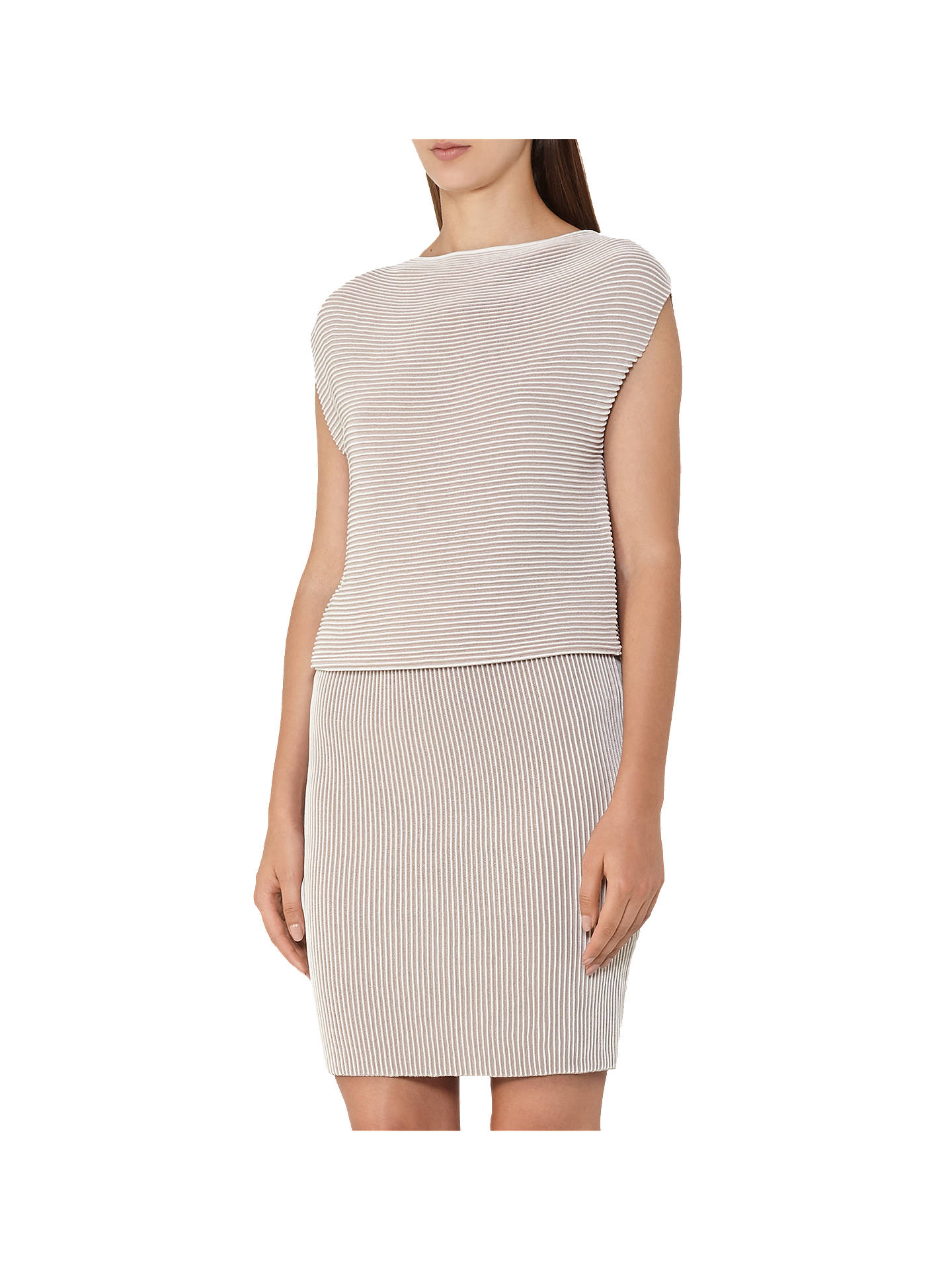 d45befb780a45a Buy Reiss Simone Ripple Stitch Dress, Nude, 6 Online at johnlewis.com ...