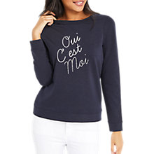 Buy Oasis Oui C'est Moi Sweatshirt, Navy Online at johnlewis.com