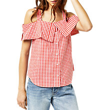 Buy Warehouse Gingham Top, Red Online at johnlewis.com