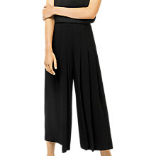 Buy Warehouse Pleated Culottes, Black Online at johnlewis.com