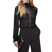 Buy Reiss Suki Lace Roll Neck Jumper, Black Online at johnlewis.com