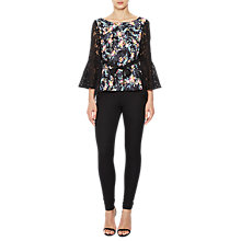 Buy French Connection Crepe Light Bell Sleeve Top, Black/Multi Online at johnlewis.com
