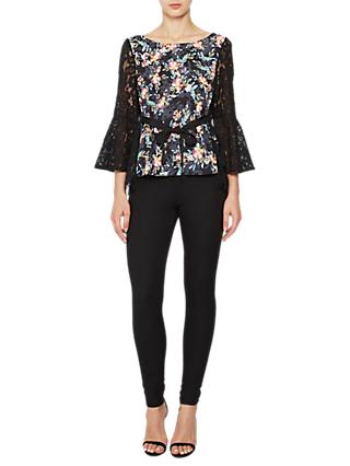 French Connection Crepe Light Bell Sleeve Top, Black/Multi