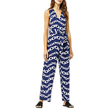 Buy Warehouse Chain Print Jumpsuit, Blue Online at johnlewis.com