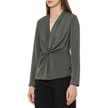 Buy Reiss Marla Twist Knot Top, Khaki Online at johnlewis.com