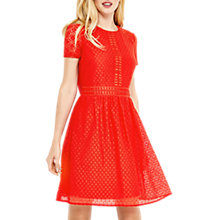 Buy Oasis Lace Day Skater Dress, Mid Red Online at johnlewis.com