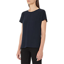 Buy Reiss Tia Silk Front T-Shirt, Night Navy Online at johnlewis.com