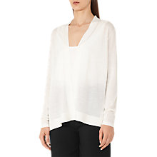 Buy Reiss Tanner Merino Silk Cardigan, Off White Online at johnlewis.com