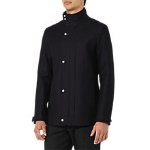 Buy Reiss Atwood Funnel Collar Cotton Jacket, Navy Online at johnlewis.com
