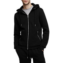 Buy Reiss Avery Zip Through Hoodie, Black Online at johnlewis.com