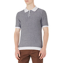 Buy Reiss Danny Herringbone Cotton Polo Shirt, Blue/White Online at johnlewis.com