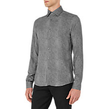 Buy Reiss Temple Tonal Patterned Slim Fit Shirt, Grey Online at johnlewis.com