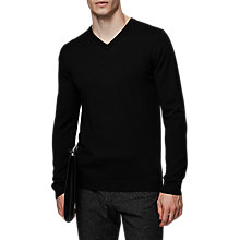 Buy Reiss Emporer Merino V-Neck Jumper, Black Online at johnlewis.com