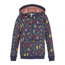 Buy Fat Face Girls' Leaf Print Zip Through Hoodie, Navy Online at johnlewis.com