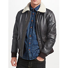 Buy JOHN LEWIS & Co. Sheepskin Collar Leather Jacket, Brown Online at johnlewis.com
