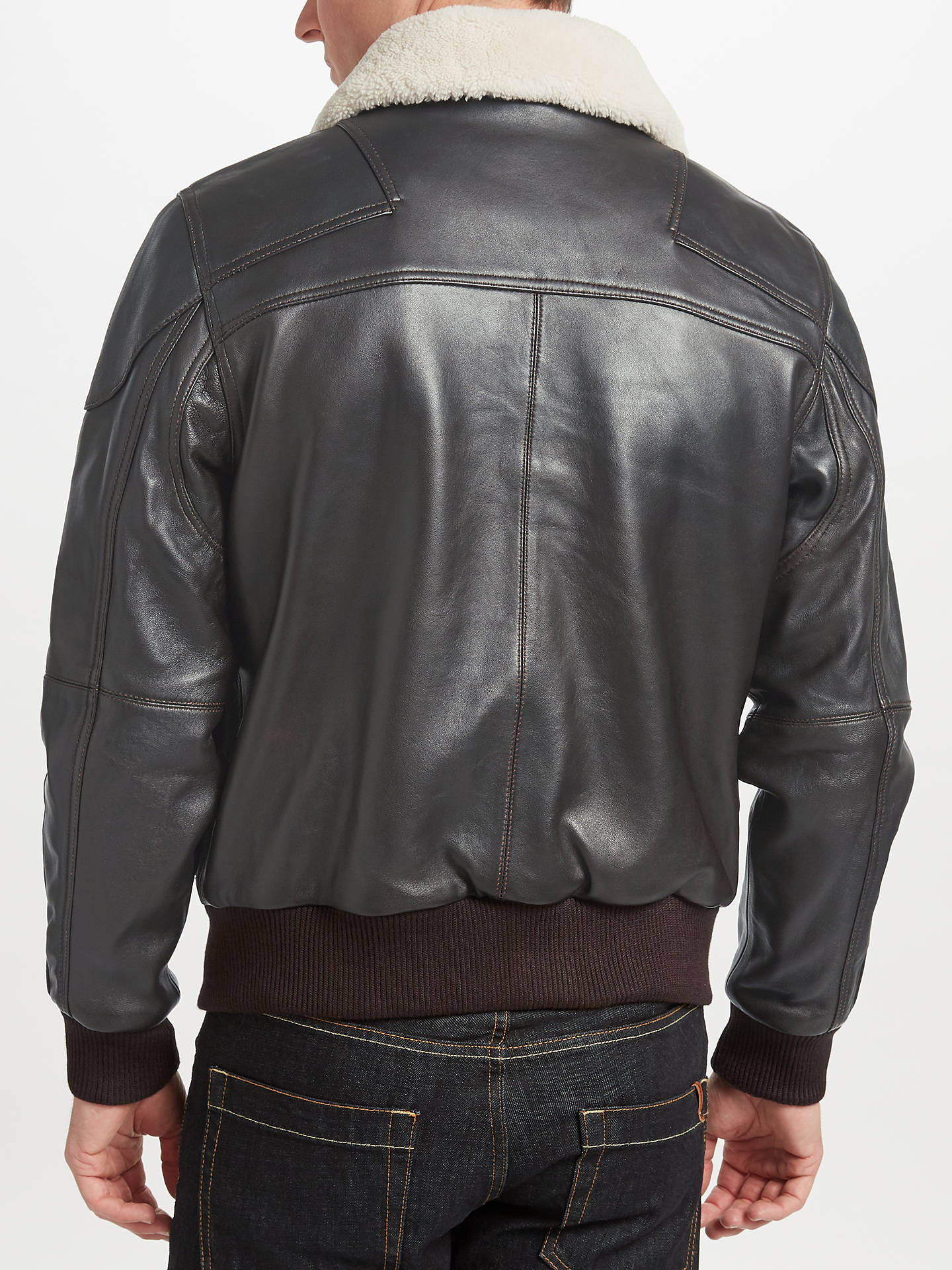 BuyJOHN LEWIS & Co. Sheepskin Collar Leather Jacket, Brown, S Online at johnlewis.com