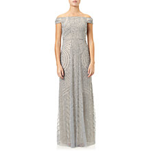 Buy Adrianna Papell Off Shoulder Beaded Gown, Blue Heather/ Silver Online at johnlewis.com