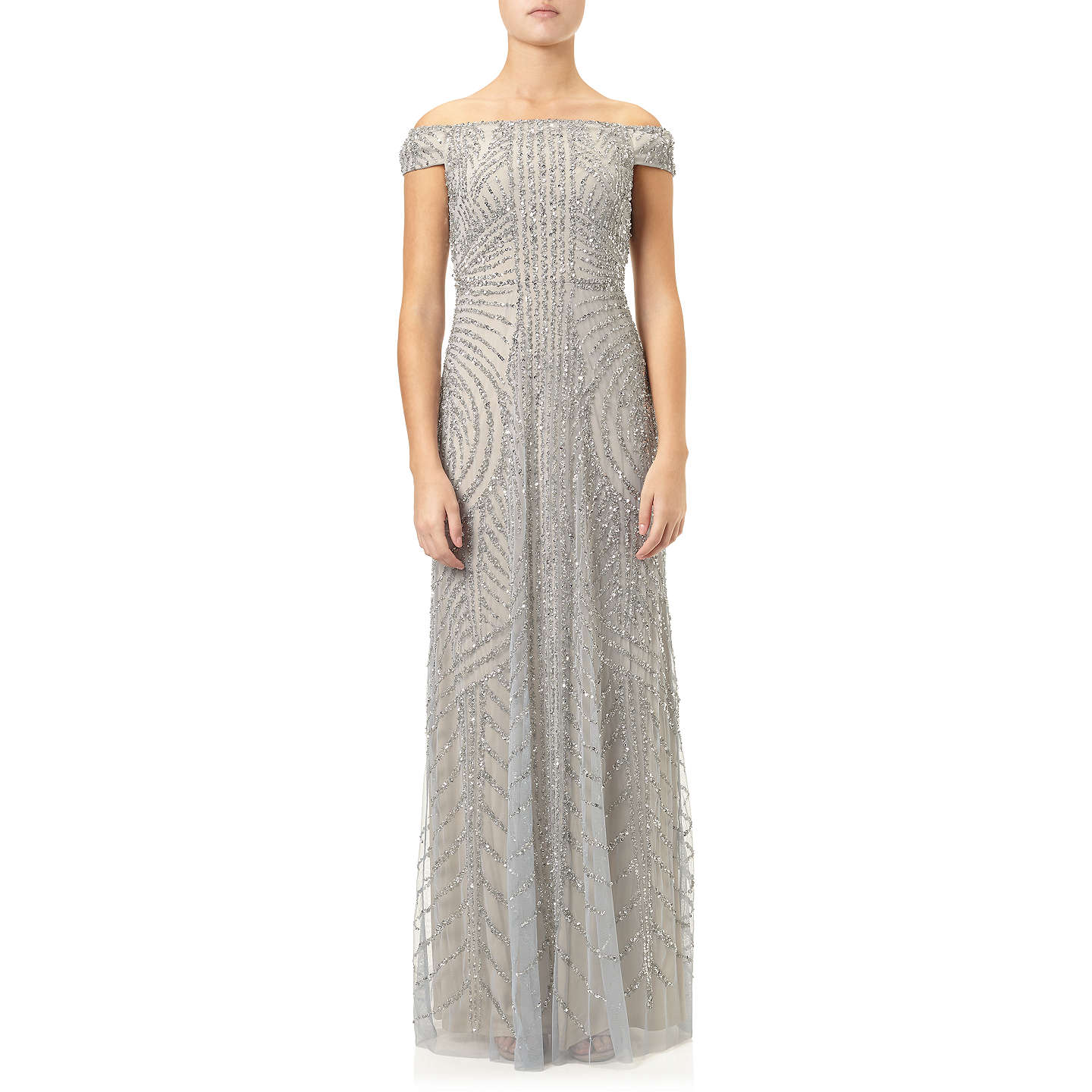 Adrianna Papell Off Shoulder Beaded Gown, Blue Heather/ Silver at ...