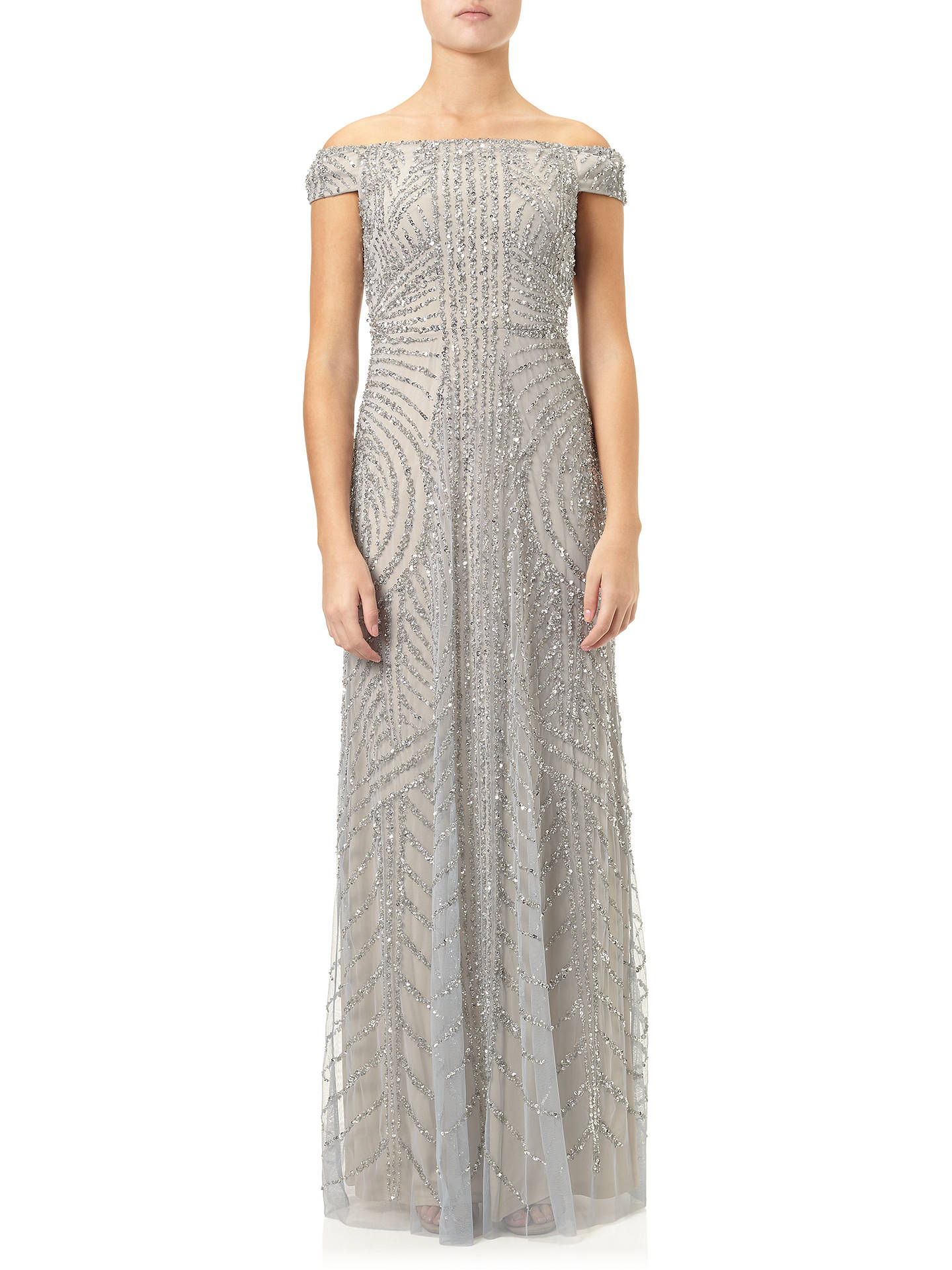 Adrianna Papell Off Shoulder Beaded Gown Blue Heather Silver At
